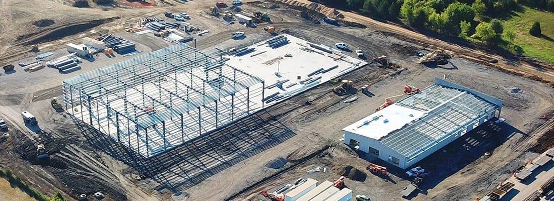 Steel building erection